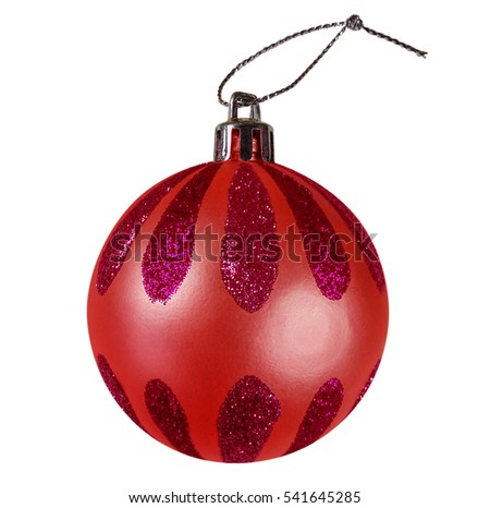 Red Christmas New Year bauble isolated on white. Clipping Path included