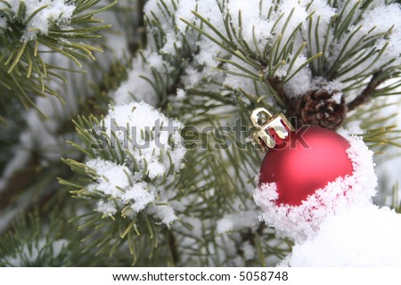 Red Christmas ornament in the snow - stock photo