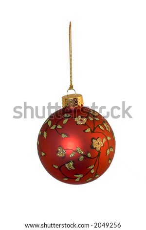Red christmas ornament isolated over a white background