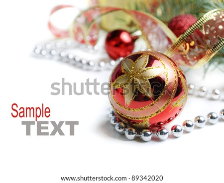 Red Christmas ornament on white background - stock photo