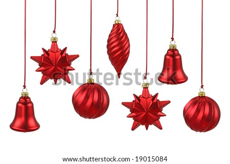 Red Christmas ornaments  isolated on white background - stock photo