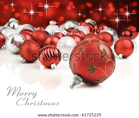 Red christmas ornaments with star background - stock photo