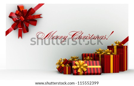 Red christmas postal, envelope with gifts and bow on white - stock photo