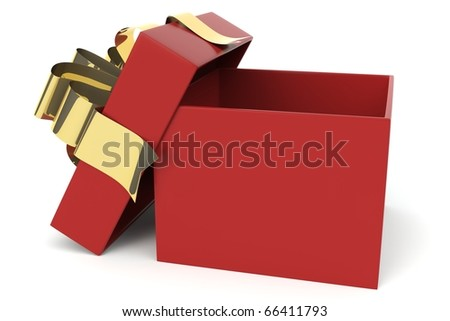 Red Christmas present and gold bow isolated against a white background.