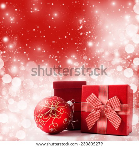 Red Christmas present on bokeh background  - stock photo