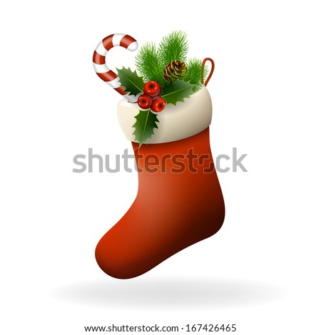 Red Christmas sock with holly berries, candy and fir branch. Raster copy of vector illustration - stock photo