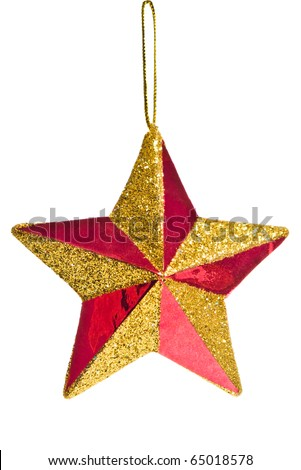 red Christmas star decoration isolated on white background - stock photo