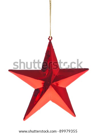 red christmas star isoalted on white background - stock photo