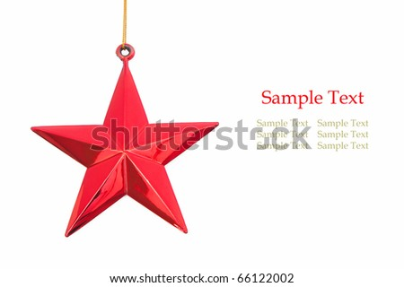 red christmas star isolated on white - stock photo
