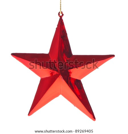 red christmas star isolated on white background - stock photo