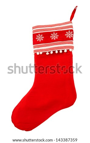 Red christmas stocking for Santa's gifts on a white background. Holidays symbol