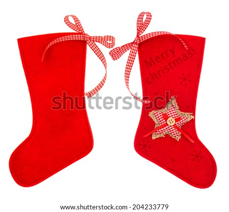 Red christmas stocking for Santas gifts isolated on white background. winter holidays symbol - stock photo