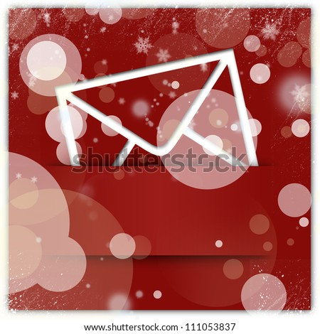 Red christmas style message icon and background