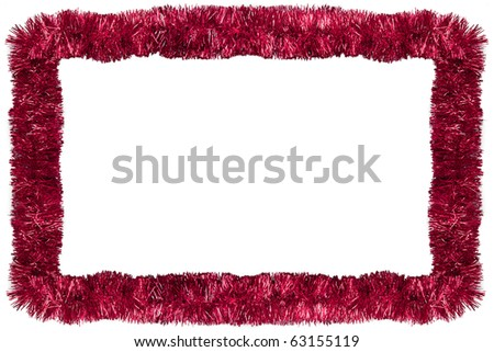 Red Christmas tinsel garland, forming a rectangular frame with center copy space, isolated on white background - stock photo