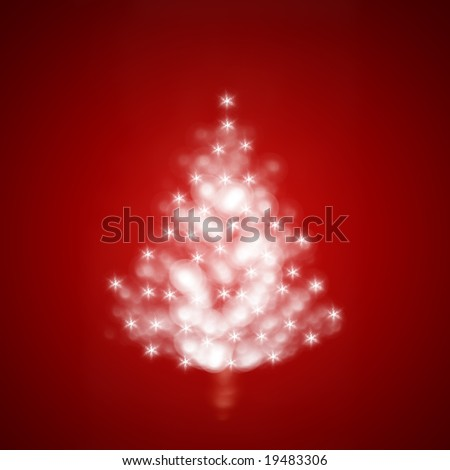 Red Christmas tree illustration with sparkles