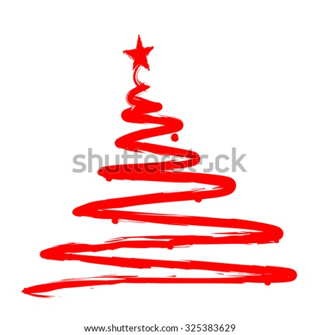 Red Christmas Tree silhouette. Hand drawn / painted artistic illustration of a x mas tree isolated on white background - stock photo