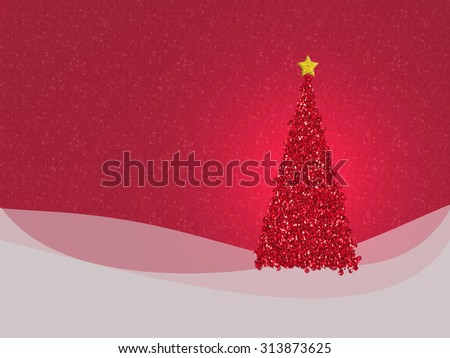 Red Christmas tree with background based on real glitter textures. Copyspace for your seasonal festive message. - stock photo