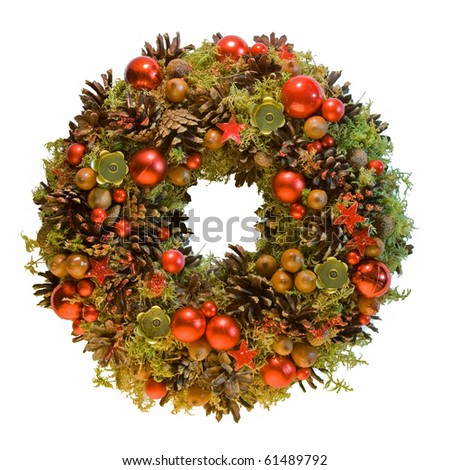 Red Christmas wreath from natural materials - stock photo