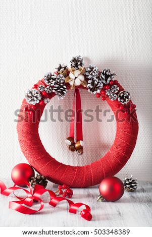 red christmas wreath handmade diy decoration