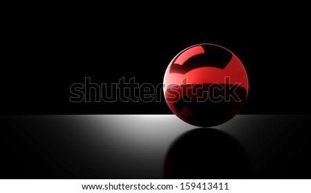 Red chrome ball rendered on dark background - stock photo