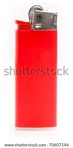 Red cigarette lighter. Isolated on white. - stock photo