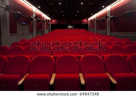 red cinema or theatre empty seats - stock photo