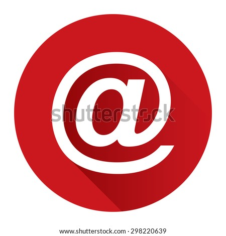 Red Circle At Sign, Email, E-Mail, Mail Flat Long Shadow Style Icon, Label, Sticker, Sign or Banner Isolated on White Background - stock photo