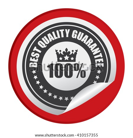 Red Circle 100% Best Quality Guarantee - Product Label, Campaign Promotion Infographics Flat Icon, Peeling Sticker, Sign Isolated on White Background  - stock photo