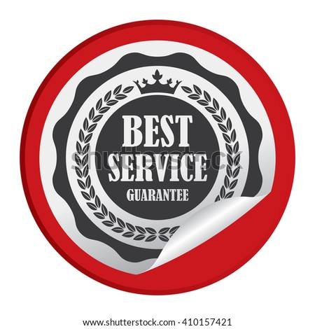 Red Circle Best Service Guarantee - Product Label, Campaign Promotion Infographics Flat Icon, Peeling Sticker, Sign Isolated on White Background  - stock photo