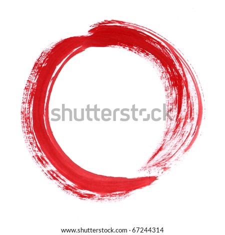 Red circle brush paint List design element. Zero from font set. Isolated on white background.