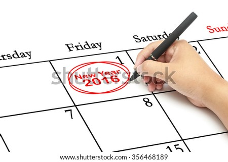 Red circle. Businessman mark on the calendar at 1 and words New Year 2016 - stock photo