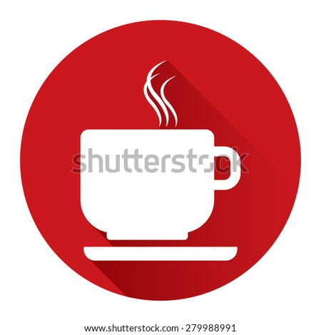 Red Circle Coffee Cup or Coffee Shop Long Shadow Style Icon, Label, Sticker, Sign or Banner Isolated on White Background - stock photo