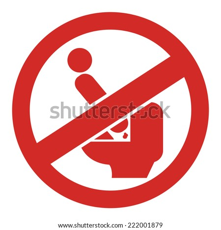Red Circle Don't Step on The Toilet Seat Prohibited Sign, Icon or Label Isolate on White Background  - stock photo