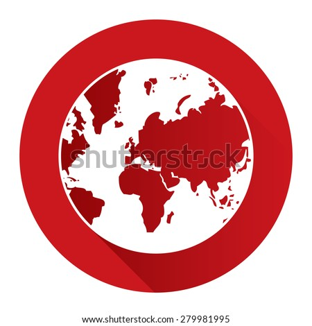 Red Circle Earth Planet Flat Long Shadow Style Icon, Label, Sticker, Sign or Banner Isolated on White Background - stock photo