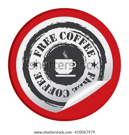 Red Circle Free Coffee - Product Label, Campaign Promotion Infographics Flat Icon, Peeling Sticker, Sign Isolated on White Background  - stock photo