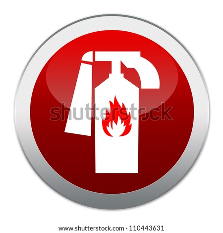 Red Circle Glossy Fire Extinguisher Sign Isolated on White Background - stock photo