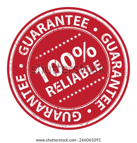 Red Circle Grunge 100% Reliable Guarantee Badge, Label, Sticker, Banner, Sign or Icon Isolated on White Background - stock photo