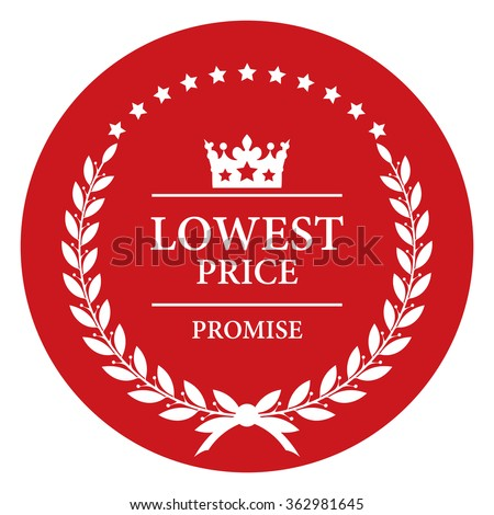 Red Circle Lowest Price Promise, Product Label, Infographics Flat Icon, Sign Isolated on White Background  - stock photo
