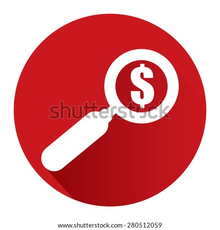 Red Circle Magnifying Glass With Dollar Sign Flat Long Shadow Style Icon, Label, Sticker, Sign or Banner Isolated on White Background - stock photo