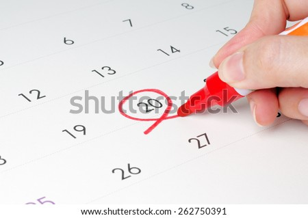 Red circle. Mark on the calendar at 20.  - stock photo