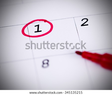 Red circle. Mark on the calendar at 1. - stock photo