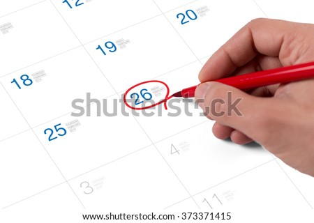 Red circle. Mark on the calendar at February 26, 2016 - stock photo