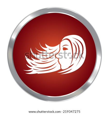 Red Circle Metallic Beauty, Female or Hair Icon or Button Isolated on White Background  - stock photo