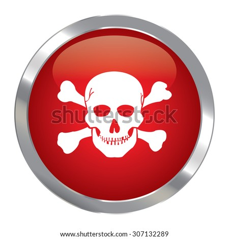 Red Circle Metallic Danger or Skull Infographics Icon, Sign or Symbol Isolated on White Background  - stock photo