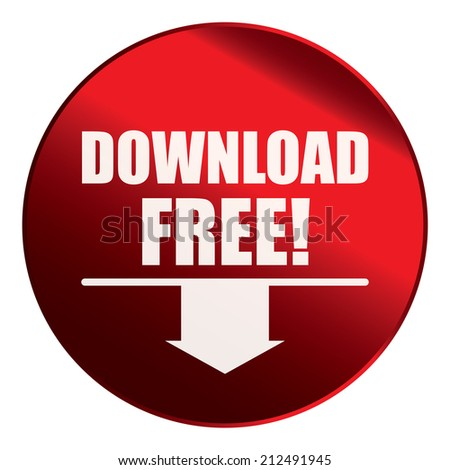 Red Circle Metallic Download Free! Label, Sign, Sticker or Icon Isolated on White Background  - stock photo