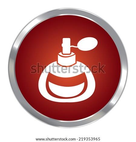 Red Circle Metallic Perfume or Fragrance Spray Icon or Button Isolated on White Background  - stock photo