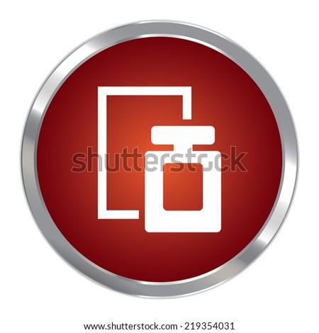 Red Circle Metallic Perfume Spray Icon or Button Isolated on White Background  - stock photo
