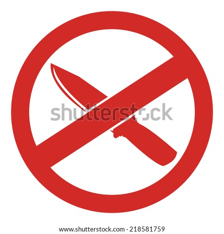 Red Circle No Knife or No Weapon Sign, Icon or Label Isolate on White Background  - stock photo