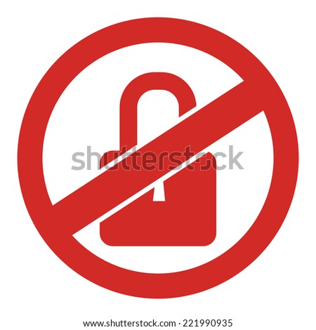 Red Circle No Locked Prohibited Sign, Icon or Label Isolate on White Background  - stock photo