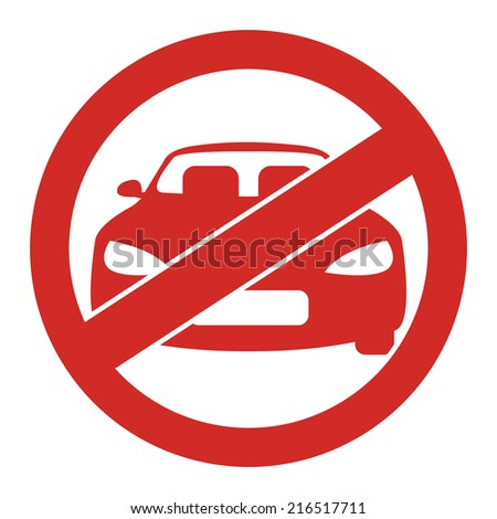 Red Circle No Parking Prohibited Sign, Icon or Label Isolate on White Background  - stock photo